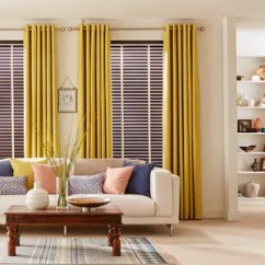 Blinds For Living Room With Curtains Small Two Loveseats How To Match Your And Hillarys Haywood Hickory Wooden Tetbury Mustard