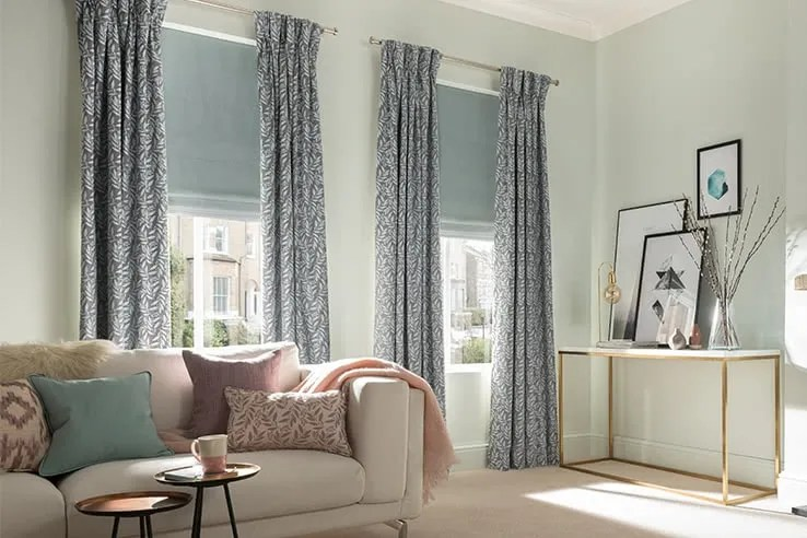 patterned curtains for living room small scale chairs blue uk 50 sale now on fitted hillarys curtain sky haze roman clarence