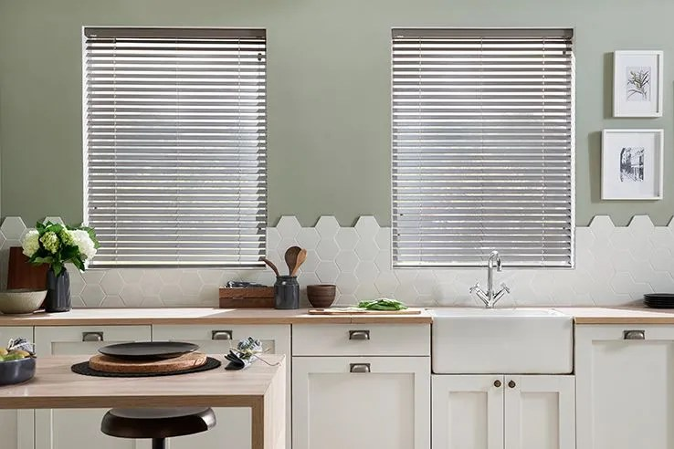 grey kitchen blinds island chairs 50 sale now on window hillarys the new neutral