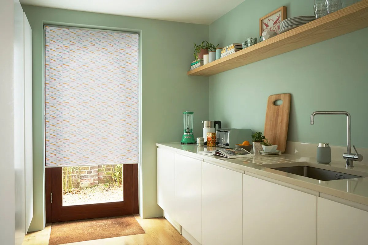 kitchen blinds prefabricated cabinets extra 10 made to measure up 60 off hillarys patterned roller blind riya sorbet