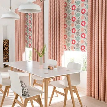 curtains kitchen small sink ireland sale now on 50 off hillarys orange made to measure eyelet combined with a coral patterned roman blind in the dining