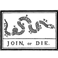 Cartoon originally appearing in Franklin's Pennsylvania Gazette in 1754