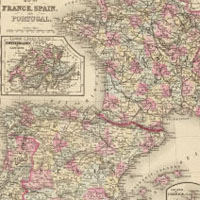 19th Century Map of France and Spain
