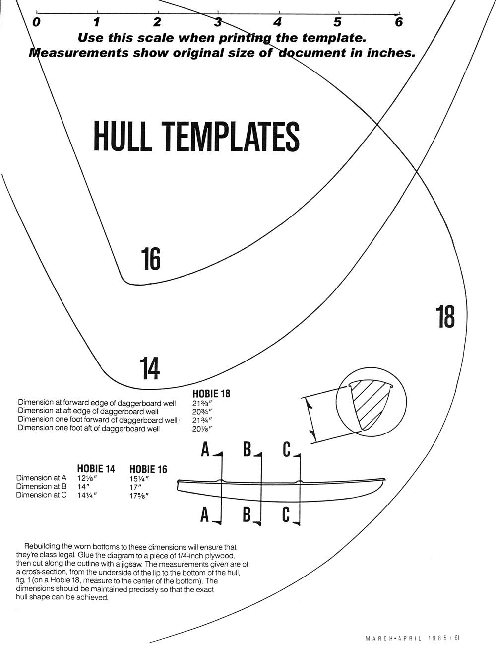 medium resolution of keel shape templates hobie 14 16 and 18