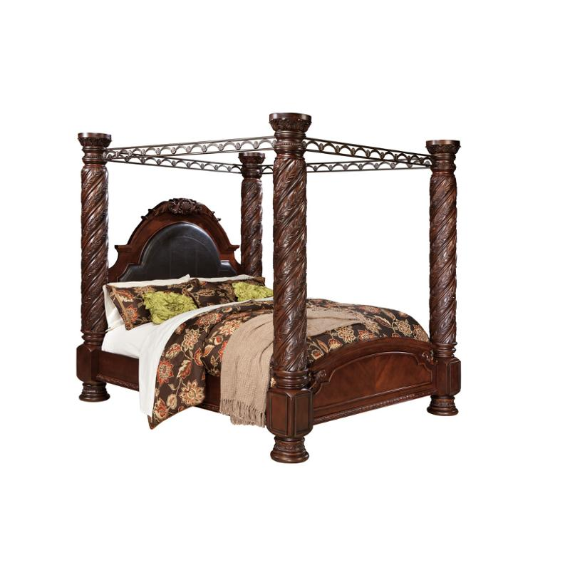 b553 172 ashley furniture north shore dark brown king poster bed with canopy