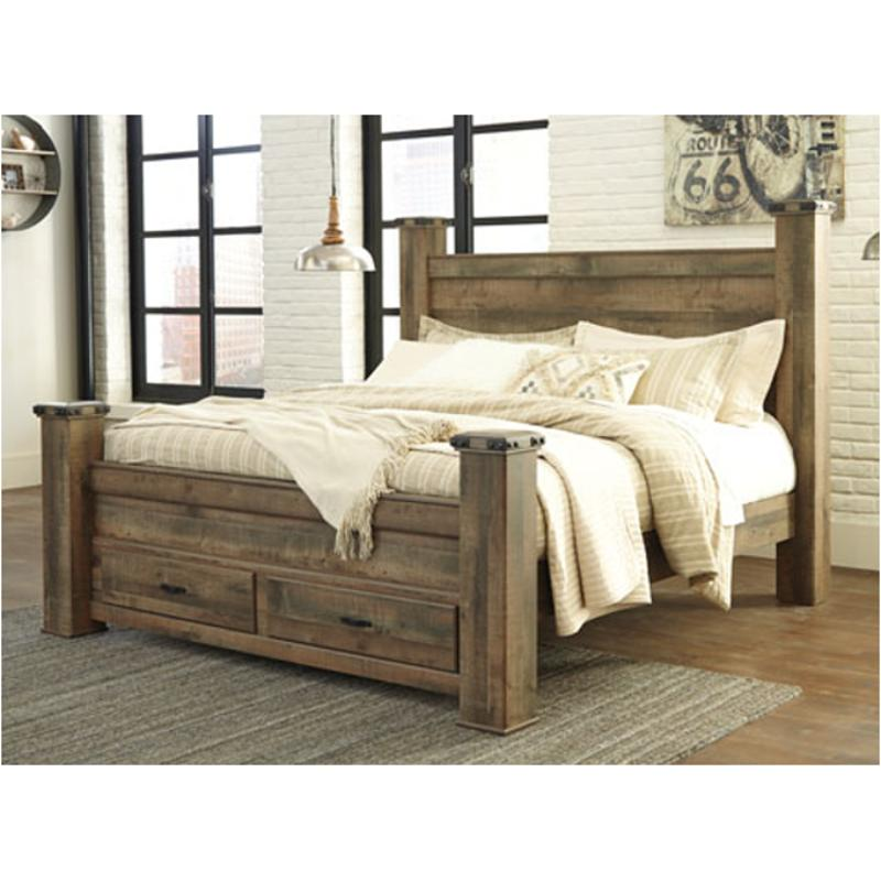 b446 66s ashley furniture trinell brown king poster storage footboard