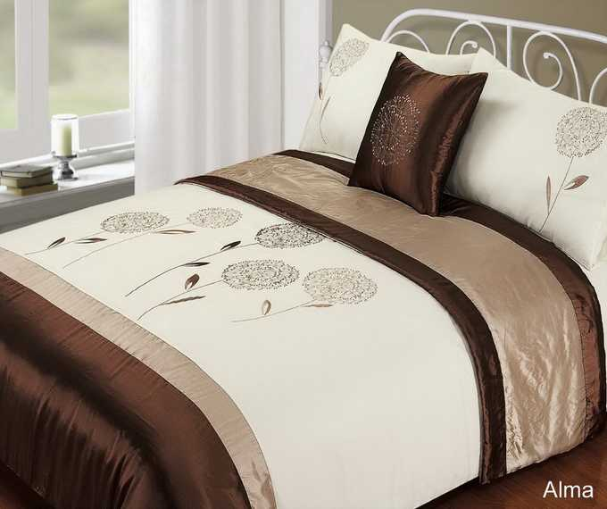 5 PIECE Duvet Quilt Cover Bedding BED SET Embroidered