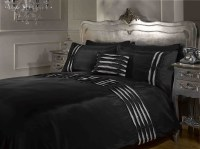 Crystal Diamante Detail Duvet Quilt Cover Bed Sets White