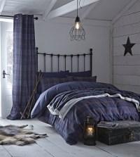 Navy Blue Tartan Quilt Duvet Cover Bed Sets OR Curtains OR ...
