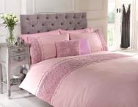 Dusky Pink Raised Rose Duvet Quilt Cover Bed Set Bedding 4 ...