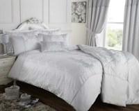 Silver Grey Duvet Quilt Cover Jacquard Bedding Bed Set