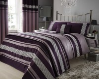 Super King Plum Purple Metallic Effect Detail Quilt Duvet ...