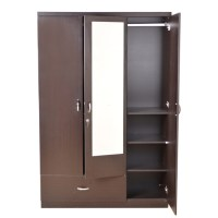 Buy Utsav Three Door Wardrobe With Mirror Wenge Online in ...
