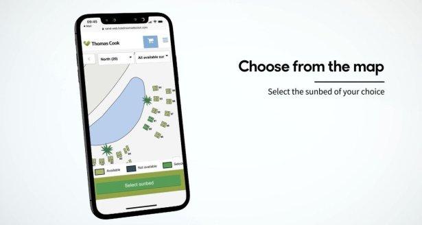 Turiștii aleg pe site sau aplicația Thomas Cook șezlongul dorit cu câteva zile înainte de a călători la destinația dorită.