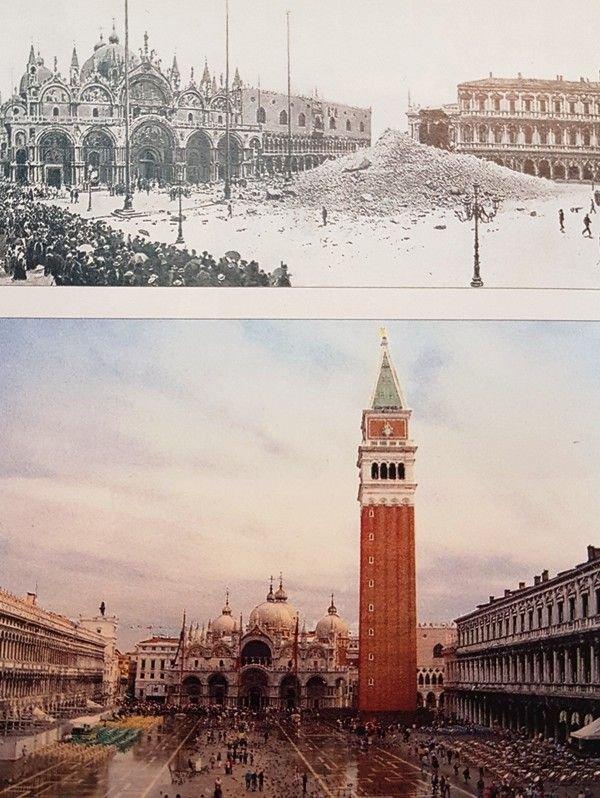 Deasupra, rămășițile Campaniliei originale din San Marco, în 1902. Mai jos putem vedea reconstrucția actuală, care datează din 1912, deși mulți oameni un cunosc acest fapt.