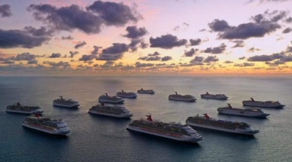 Flota Carnival înainte de pandemie; compania a vândut mai multe din navele sale.