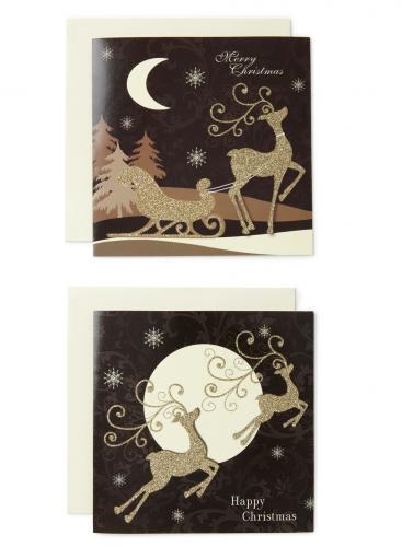Reindeer Duo Christmas Cards Half Price BHS Free