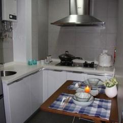 Compact Kitchens Kitchen Cabinets Cheap 干净紧凑的厨房 宜家的活动墙桌很实用哦 还有特力屋的日本瓷器餐具好 还有