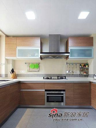 kitchen wood countertops islands at home depot 进入厨房 木纹面板加白色台面的整体橱柜 家居秀 新浪装修家居