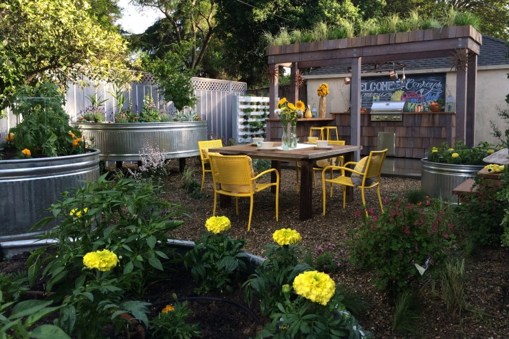 Backyard bar with dining table & stock tack vegetable garden