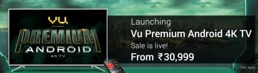 Vu 4K Smart TV launch India Flipkart