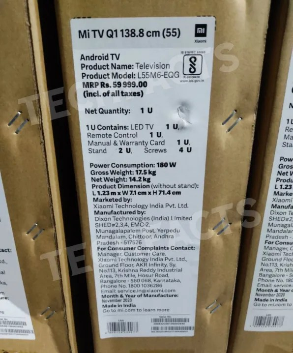 Mi QLED TV 4K retail box leak reveals price, specs, and more | 91mobiles.com