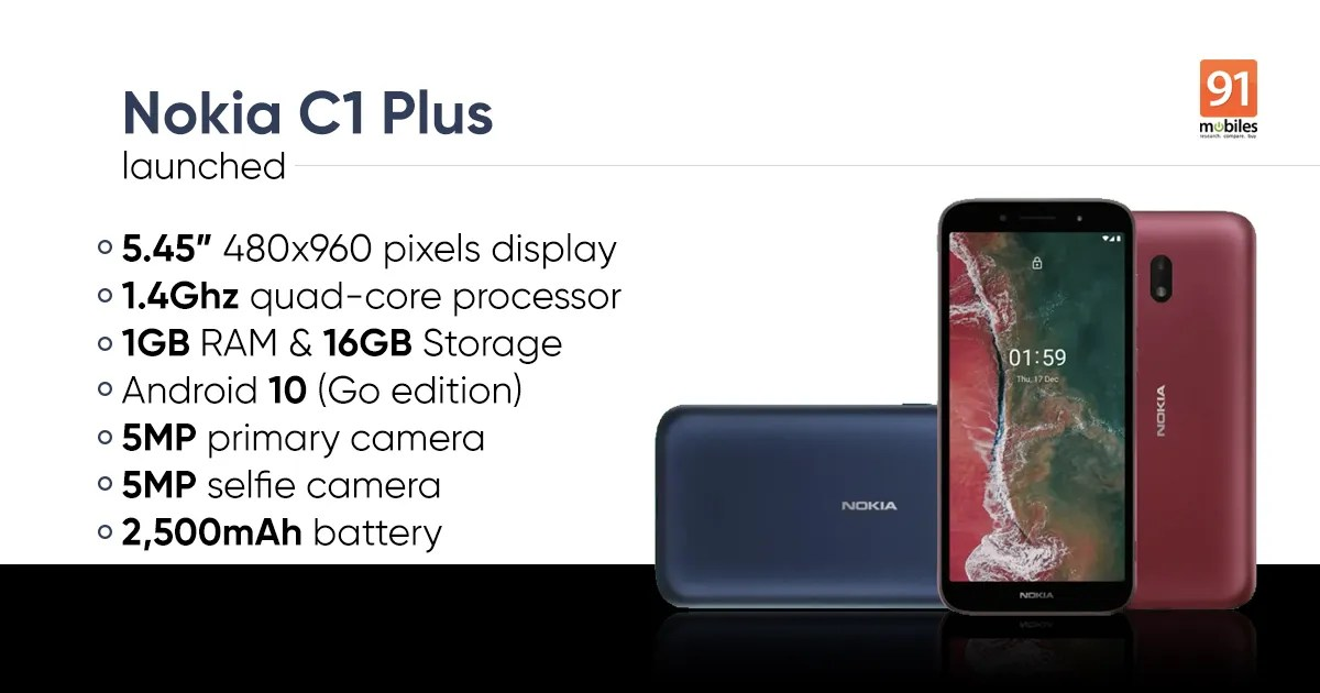 Nokia C1 Plus Android 10 (Go edition) smartphone launched: price. specifications. and more - Tech Awsome