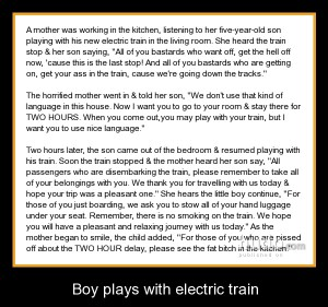 boy plays with electric