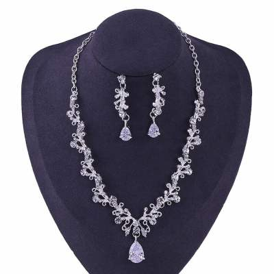 Luxury Noble Crystal Leaf Bridal Jewelry Sets