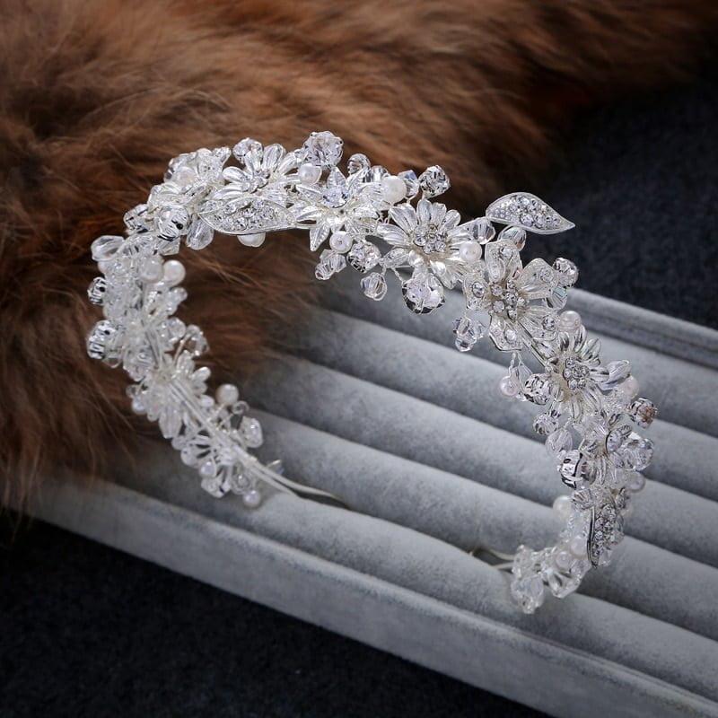 Handmade Sparkling Crystal Flower Tiara