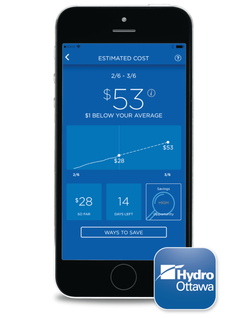 small resolution of iphone with hydro ottawa s app showing the estimated cost feature