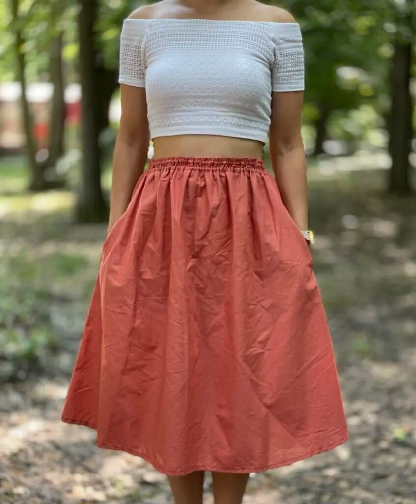 Gathered Skirt with Pockets - DIY Sewing Tutorial