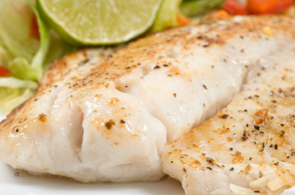 Image of tilapia fillet, with lemon and butter
