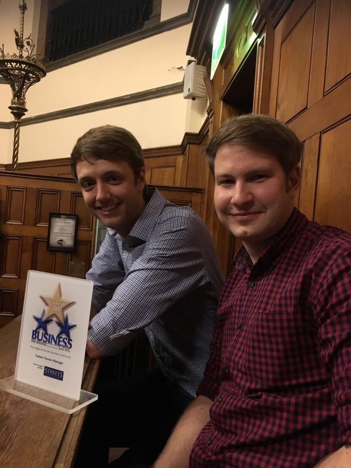 Tom and Aaron win Fastest 40 owner manager award