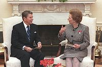 Margaret Thatcher and Ronald Reagan in the oval office, 1988