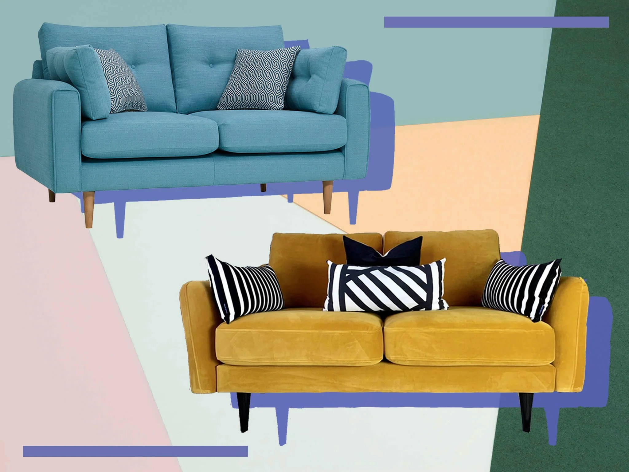 best two seater sofas velvet loveseats