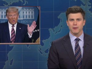 Colin Jost skewers Capitol riots 'chewing and kissing' on SNL