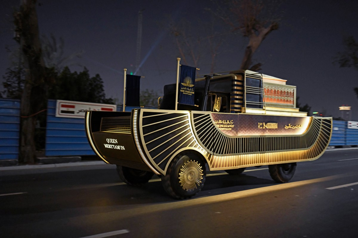 A tank carrying one of the royal mummies drives along the Nile corniche during the parade on Saturday 3, April, 2021 in Cairo, Egypt.