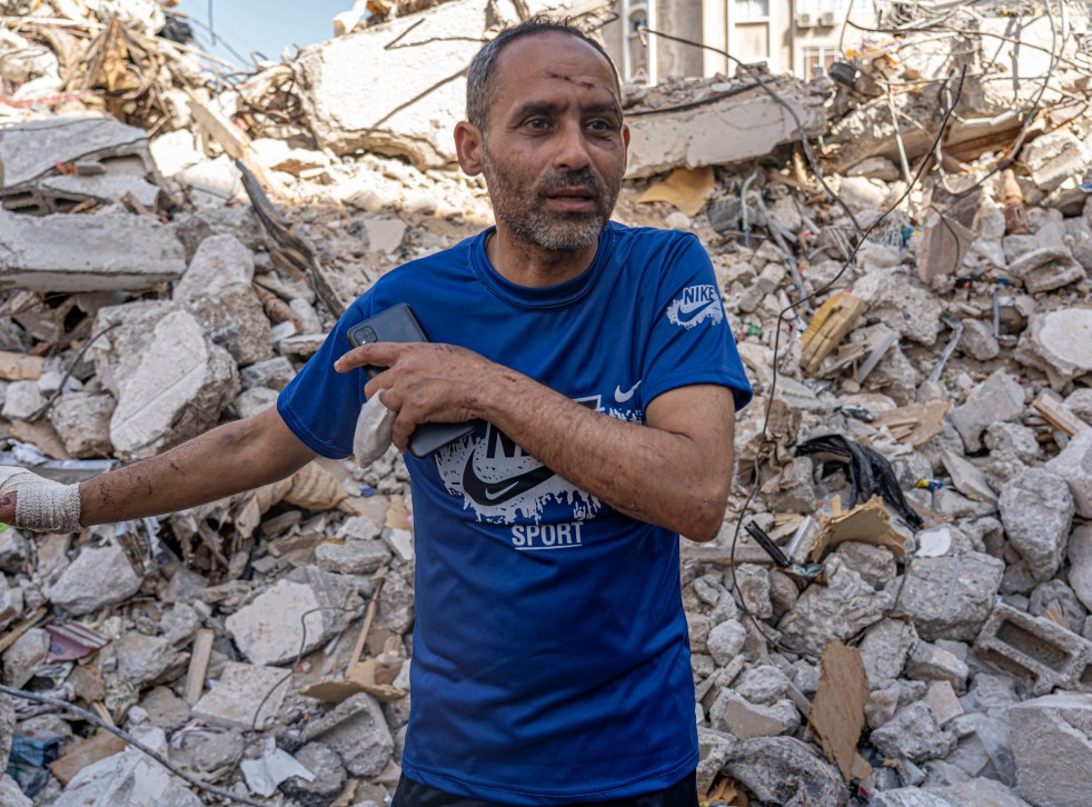 Riad Shkuntina, 42, whose family lived a floor above Dr Abu Al-Ouf and was also killed in the strike