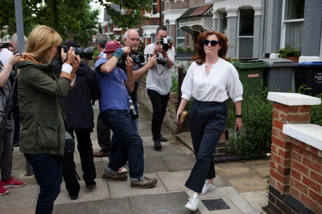 <p>Martha Hancock pictured otside her home after news of her husband's 'affair' broke on Friday </p>