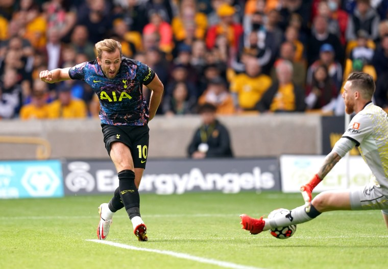 <p>Harry Kane has a shot saved by Wolves keeper Jose Sa during his substitute appearance for Tottenham at Molineux (David Davies/PA Images).</p>