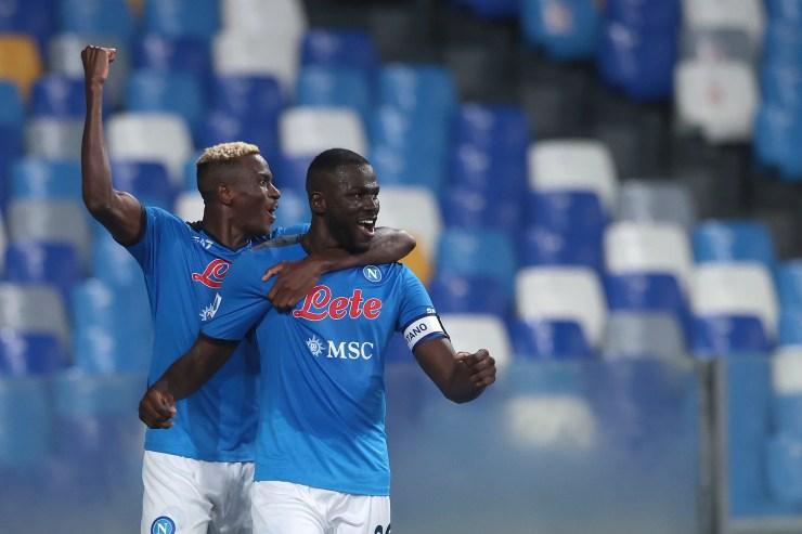 Kalidou Koulibaly celebrates after scoring his side's second and decisive goal against Juventus (Alessandro Garofalo/AP)
