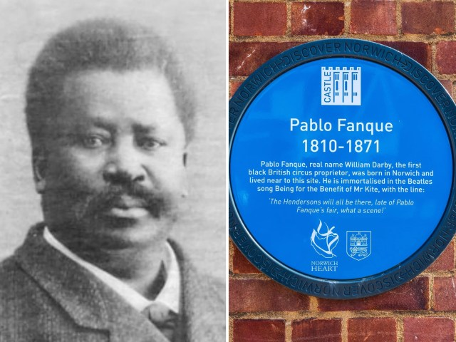 <p>Possible photo of Pablo Fanque next to a plaque in his home city of Norwich</p>