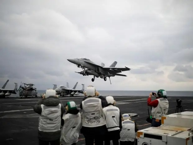 Image result for U.S. carrier conducts drills as tensions rise with North Korea