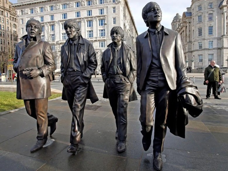 A statue of The Beatles outside Liverpool's Royal Liver Building, unveiled in December