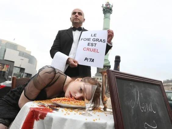 Peta protesting against foie gras production in Paris in 2012 (Getty Images)