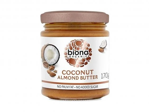 A pot of Biona Organic Coconut Almond Butter Smooth.