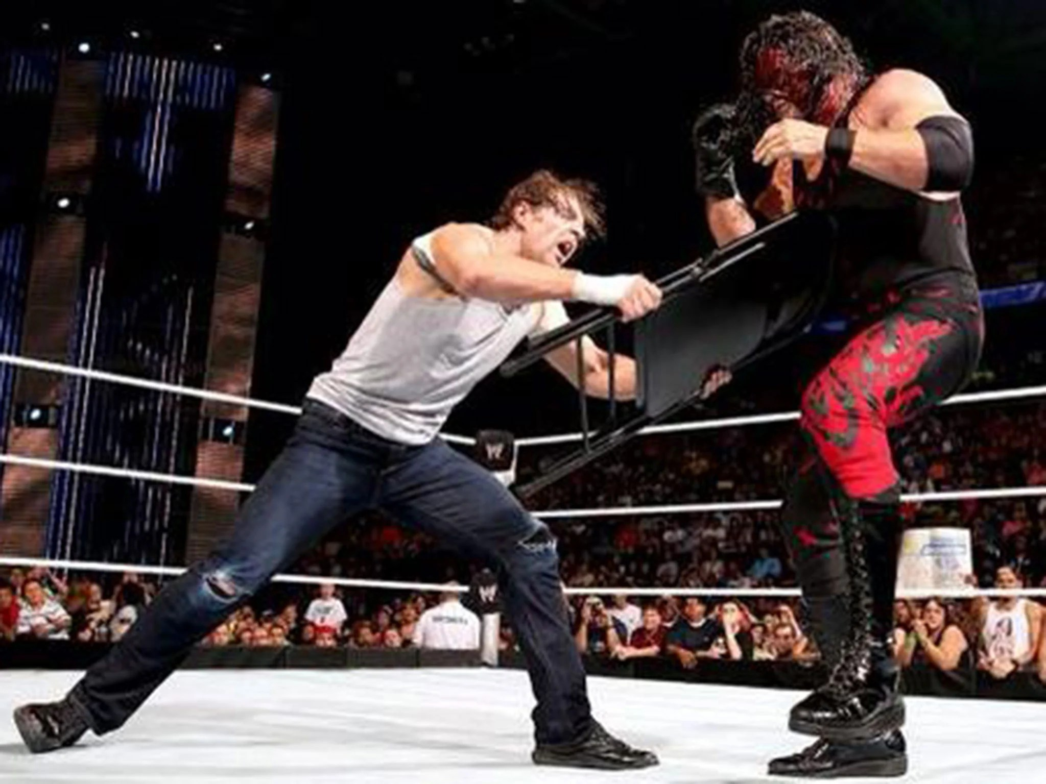 steel chair used in wwe ergonomic for work smackdown results dean ambrose finally gets the