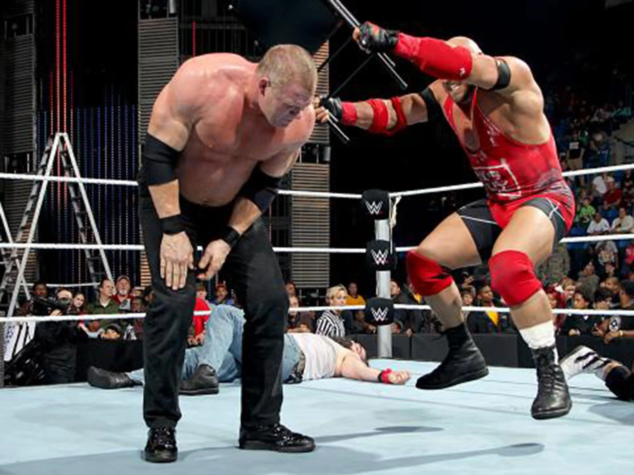 steel chair used in wwe costco tables and chairs smackdown results dolph ziggler flies high six man