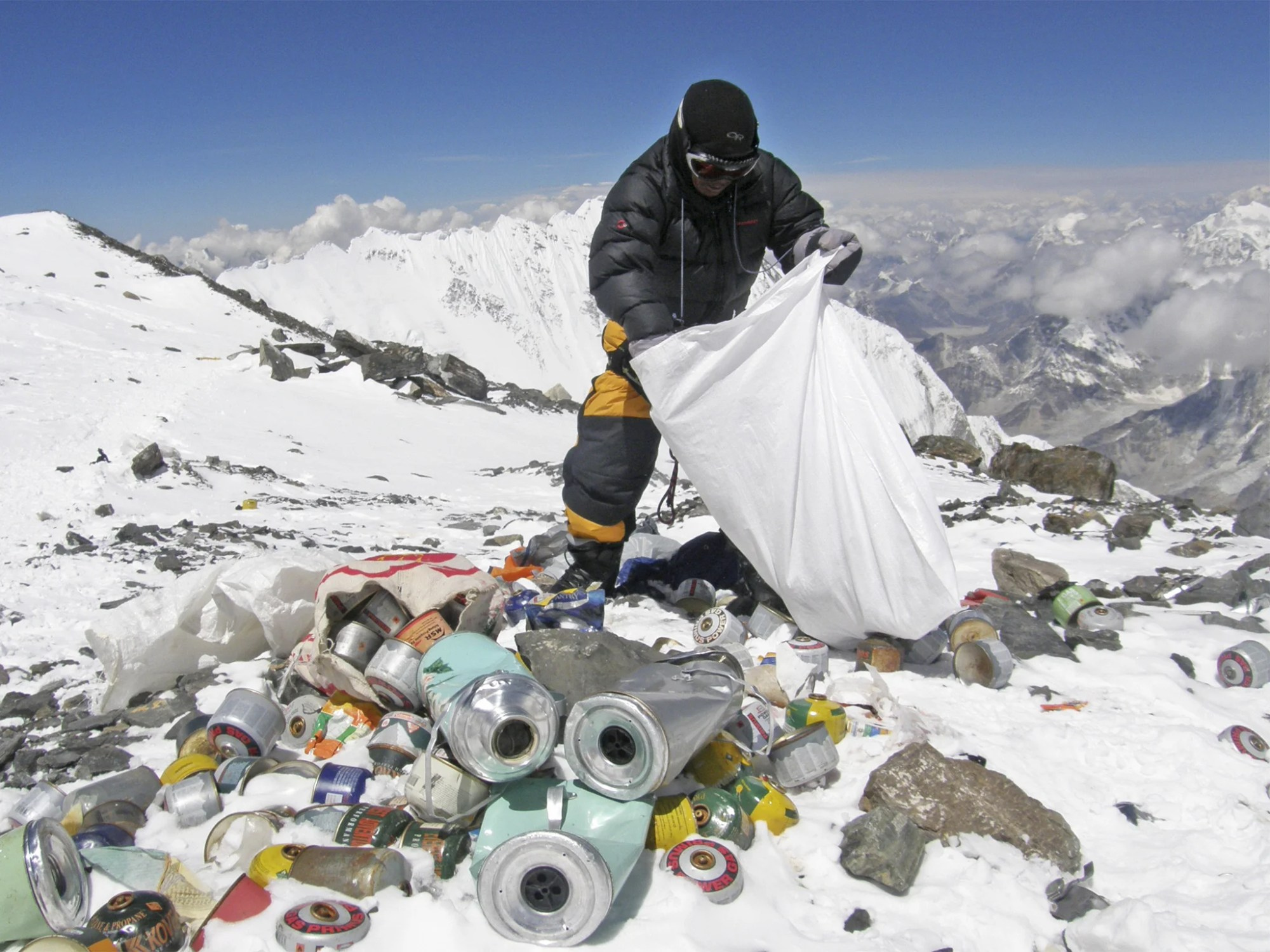 hight resolution of human waste left by climbers on mount everest is causing pollution and could spread diseases